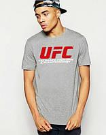Брендовая футболкаUFC, футболка юКПс, серая, мужская, хлопок, КП2380