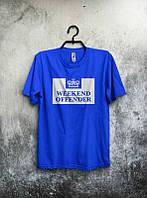 Брендовая футболка, синяя, молодежная, с белым лого, летняя, КП2518
