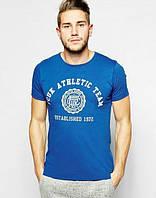 Брендовая футболка, синяя, с большим лого, в наличии, молодежная, летняя, хлопок, КП2562