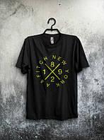 Брендовая футболка, черная, с большим лого, трикотаж, летняя, качественная, молодежная, КП2580