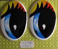 Глазки рисованные,  75*50 мм.  №РВ3