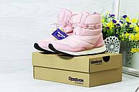 Женские ботинки дутики на меху (розовые), ТОП-реплика, фото 1