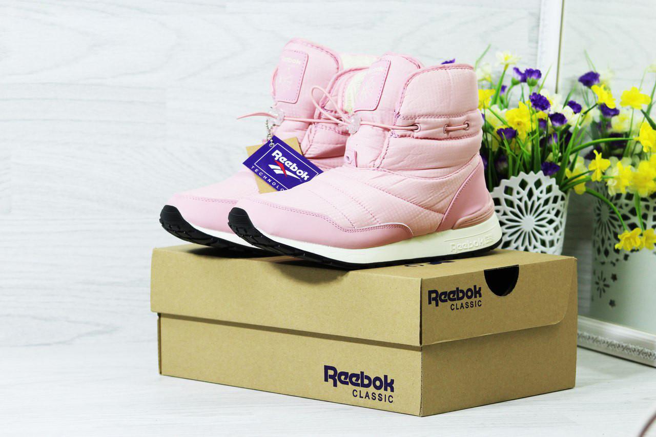 Женские ботинки дутики на меху (розовые), ТОП-реплика