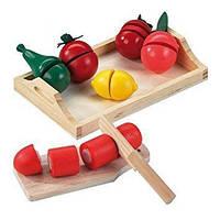Happy People 45007 - деревянный поднос с деревянными фруктами / овощами 20.5 x 13 x 3.5
