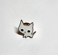 Значок Кот белый, металлический