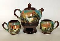 Набор чайный 2 чашки+чайник+камин
