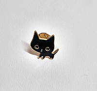 Значок Кот черный, металлический