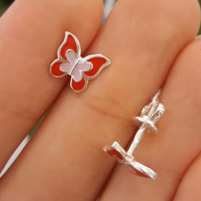 Серебряные детские серьги Бабочки с эмалью красной фото 1