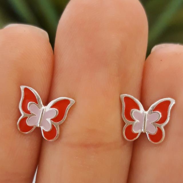 Серебряные детские серьги Бабочки с эмалью красной фото 2