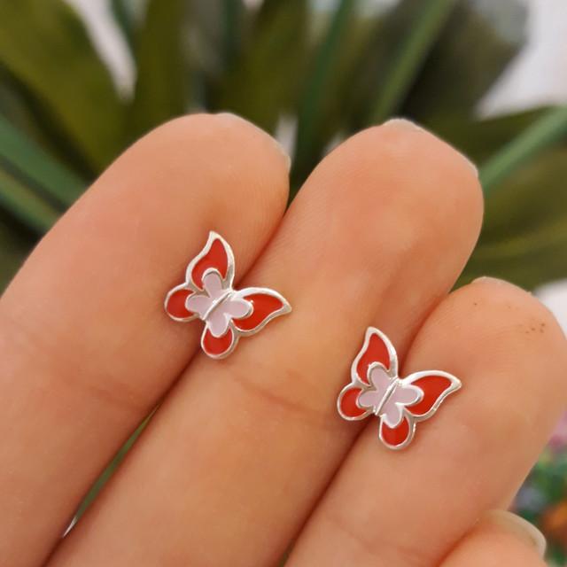 Серебряные детские серьги Бабочки с эмалью красной фото 3