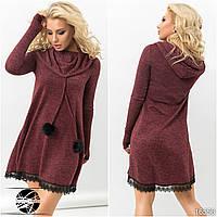 Теплое женское платье бордового цвета с капюшоном. Модель 16556
