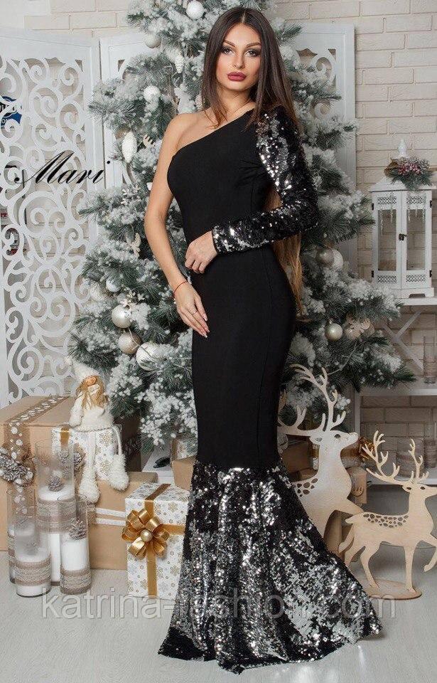 2670841ffcbb Женское нарядное платье с пайетками на одно плечо