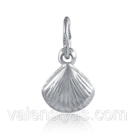 Серебряный кулон ракушка родированный 8-09Р, фото 2