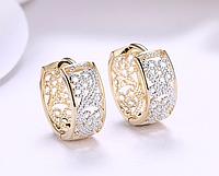 Позолоченные серьги-кольца с цирконами код 1291