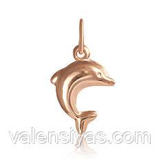 Позолоченный подвес из серебра дельфинчик 8-14А