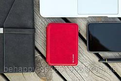 Кожаный кошелек Zhuse 012, с Powerbank, Красный