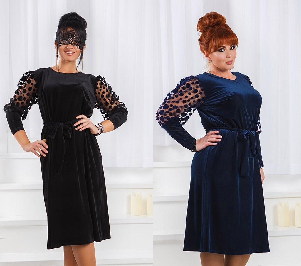 a92876ef6c8 Женское вечернее бархатное платье большого размера -