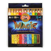 Карандаши многоцветные трехгранные набор 12 цветов Кохинор MAGIC 3 в 1