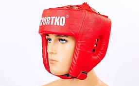 Шлем боксерский открытый Кожвинил SPORTKO UR OD1-R(L) Бокс (красный, р-р L)