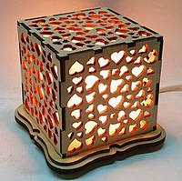 """Соляная лампа Куб """"Сердца"""", фото 1"""