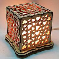 """Соляная лампа Куб """"Сердца"""""""