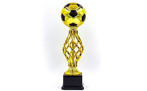 Награда (приз) спортивная BALL YK-047С (пластик, h-33см, b-9,5см, d шара-12см,  золото)
