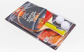 Набор для настольного тенниса 1 ракетка, 2 мяча KEPAI KP-1136 1star (древесина, резина, пластик)
