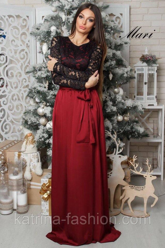 Женское нарядное платье с гипюром и шелковой юбкой (5 цветов) - KATRINA  FASHION - fd3edcc0c2fdd