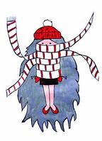 """Открытка с девочкой """"Брюнетка в шарфике"""", фото 1"""
