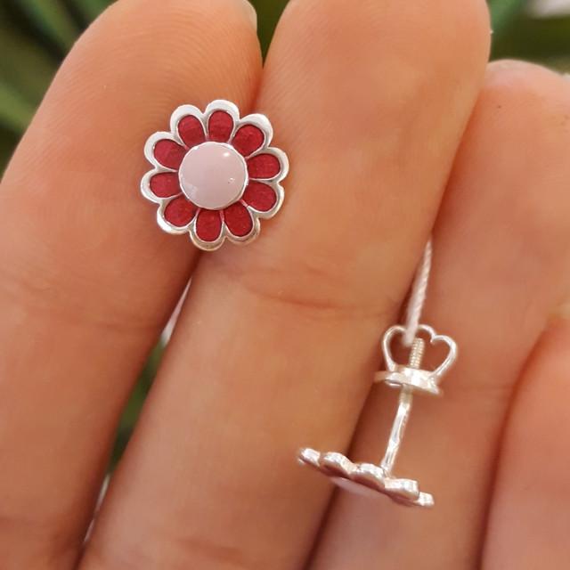 Серебряные серьги Розовые цветочки с эмалью фото 1