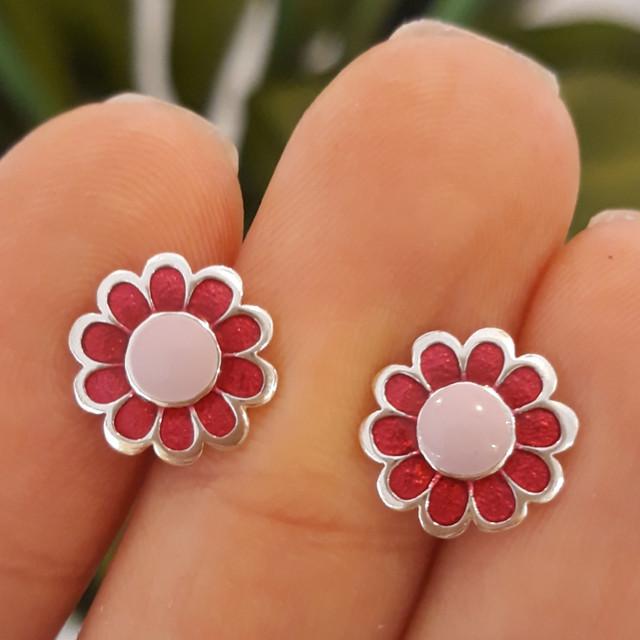 Серебряные серьги Розовые цветочки с эмалью фото 2