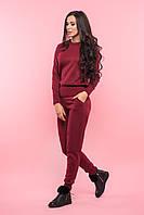 Бордовый гладкий вязаный женский костюм , фото 1