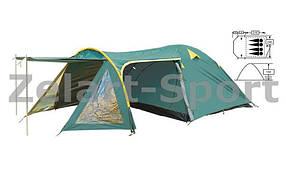 Палатка кемпинговая 4-х местная с тентом и тамбуром FRT-207-4 (р-р (1+1,2+2,1)х2,4х1,3м, PL 190T)