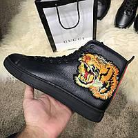 Ботинки Gucci High Top Sneaker With Tiger Black реплика 48720540387e8