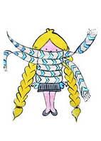 """Открытка """"Девочка с косами в шарфике"""", фото 1"""