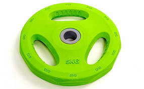 Блины обрезиненные с хватом для штанги фитнес памп BP3031 d-30мм 5кг PL26-5 (отв. d-30мм,зеленый)