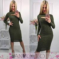 fb2f44d1181 Женское стильное платье трикотаж-резинка с люрексом
