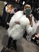 Шуба из натуральной ламы белая, фото 1