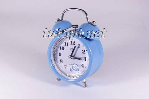 Будильник колокольчик с плав. стрелкой с подсветкой, 4 цвета