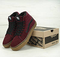 Зимние кеды Vans Old Skool high CANVAS SK8-HI bordo/gum  с мехом