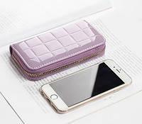 Женский кошелек-клатч небольшой маленький фиолетовый на молнии