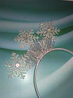 Обруч Снежинки белые Подарок на Новый год, фото 1