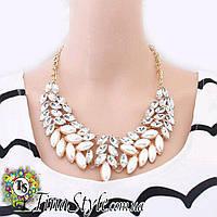 Колье Ожерелье белое жемчужное прозрачное крылья камни белые Шарм Винтаж кольэ