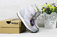 Женские ботинки дутики Reebok на меху (серые), ТОП-реплика, фото 1