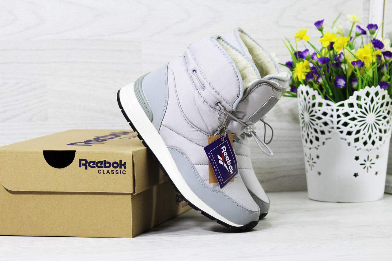 Женские ботинки дутики Reebok на меху (серые), ТОП-реплика