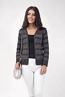 Женский вязаный пиджак из двух видов пряжи, темно-серый