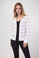 Женский вязаный пиджак из двух видов пряжи, молочный