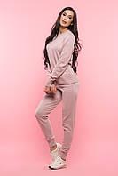 Розовый гладкий вязаный женский костюм
