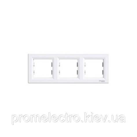 Рамка Schneider-Electric Asfora 3-постовая горизонтальная белая EPH5800321, фото 2