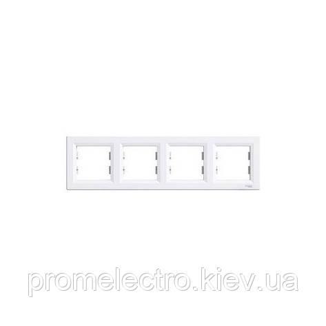 Рамка Schneider-Electric Asfora 4-постовая горизонтальная белая EPH5800421, фото 2